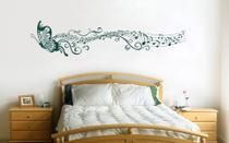 Adesivo decorativo de parede Borboleta com Rastro musical Nota musical 2 Metros grande - Gaudesivos