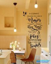 Adesivo Decorativo de Parede Frase A Cozinha com Amor linda para sua casa - Gaudesivos