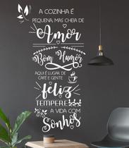 Adesivo Decorativo de Parede Frase Cozinha é Amor Feliz Humor - Gaudesivos