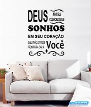 Adesivo Decorativo de Parede Frase Deus Sonho Sala Quarto - Gaudesivos