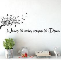 Adesivo Decorativo De Parede Quarto Sala Frase Árvore Deus - Lhamaeu