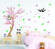 Adesivo Decorativo  Infantil Pandinhas na Árvore Flôr  de cerejeira - Colakoala Adesivos