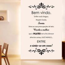 Adesivo Decorativo Parede Frase Bem Vindo Receba o Melhor Do PIlates - Adoro Decor