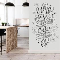 Adesivo Decorativo Parede Frase Cozinha Uma Dose Café Amor e Fé - Adoro Decor