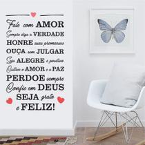 Adesivo Decorativo Parede Frase Fale Com Amor - Adoro Decor