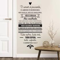 Adesivo Decorativo Parede Frase Versículo Corintíos O Amor É Paciente - Adoro Decor
