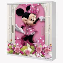 Adesivo Envelopamento Guarda Roupa 2mX2m Minnie Rosa na Janela - Casa Harmonia