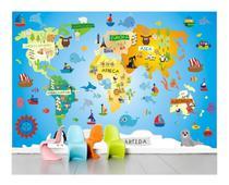 Adesivo Faixa Border Infantil Papel Parede Mapa Mundi Zoo 4m² 2,00 Altura X 2,00 Largura - Quartinho Decorado