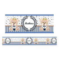Adesivo faixa de parede com nome ursinho príncipe fdup-01 - Faixas Decorativas
