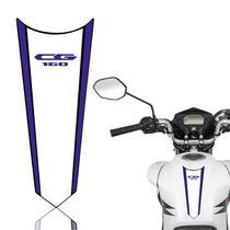 Adesivo Faixa Gravata Tanque Moto Cg 125/150/160  Titan Fan Start Branco Azul - Cobra Motoparts