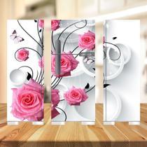 Adesivo  geladeira completa branco e rosas (03 peças 80x190) - Atitude Signs