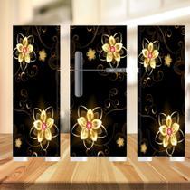 Adesivo  geladeira completa preta e flores (03 peças 80x190) - Atitude Signs