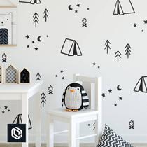 adesivo infantil parede decoração infantil barraca camping - Conspecto