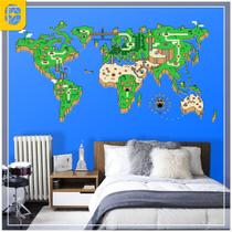 Adesivo Mapa Mundi Mario World Tam. G - Sua casa personalizada