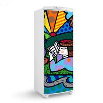 Adesivo Para Envelopamento De Geladeira Porta Desenhos Coloridos Romero Britto Leitura 150X60cm - Sunset Adesivos