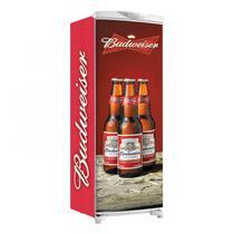Adesivo Para Envelopamento De Geladeira Total Três Garrafas De Budweiser Laterais Vermelhas Linhas Pretas 150X60cm - Sunset Adesivos