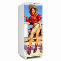 Adesivo Para Geladeira Porta Pin Up Cowgirl Cerca - 180x65cm - Sunset Shop