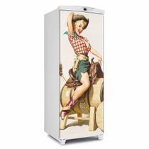 Adesivo Para Geladeira Porta Pin Up Vaqueira - 180x65cm - Sunset Shop