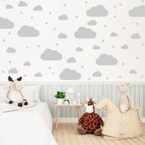 Adesivo para Quarto Infantil Nuvens Cinza 64un - Quartinhos