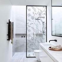 Adesivo Para Vidro Box Banheiro Jateado Decorado Delicado D'Agua - Tacolado