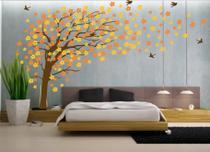 Adesivo Parede Árvore Florida Amarela Laranja - Mundo dos adesivos