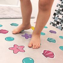 Adesivo Piso Banheiro Antiderrapante Infantil Estrela e Concha - Quartinhos
