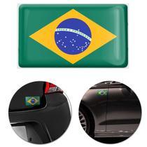 Adesivo Resinado Poliéster Bandeira do Brasil 9cm Aplicação em Verso Autocolante - Ura