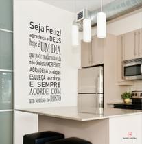 Adesivo Vinil Decorativo Seja Feliz, PRETO para parede, móveis, espelho ou vidro. - Achei Digital