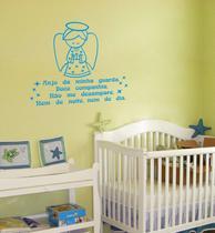 Adesivos Decorativos de Parede Frase Oração Santo Anjo da Guarda para quarto Infantil - Gaudesivos