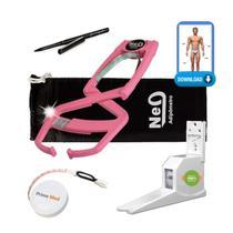 Adipômetro Clínico Neo Prime Rosa + Luva + Trena corporal + Lápis de marcação + Software Physical Test + Estadiômetro - Prime Med