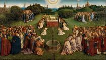 Adoração ao Cordeiro Místico (1432) - Jan van Eyck - 50x88 - Tela Canvas Para Quadro - Santhatela