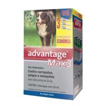 Advantage Max3 Cães 25 A 40kg Combo 3 Pipetas - Bayer -