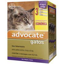 Advocate Antipulgas Bayer para Gatos de 4kg a 8kg  - 0,8 mL - Combo com 3 unidades -