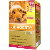 Advocate Caes G 2,5 ml 10 a 25kg - Combo 3 Pipetas - BAYER