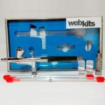 Aerógrafo Airbrush Profissional Dupla Ação Webkits Ab136s, 3 Bicos E Agulhas, Copo Fixo Pequeno -