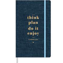 Agenda 2021 Planner Executivo Costurado Cambridge Denin M5 128x208mm com Fitilho Tilibra -