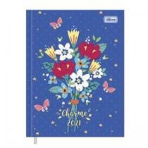 Agenda Diária Costurada 2021 Charme Azul Flores Tilibra -