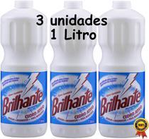 Água Sanitária Cloro Ativo 1 Litro Brilhante 3 Unidades Alvejante Desinfetante Bactericida Tira Manchas Roupas Sem Perfume Higiene Limpeza Multiuso -