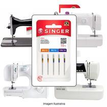 Agulha Singer Para Máquina de Costura Domestica 2045 130/705 Cabo Dourado Kit -
