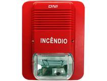 Alarme de Incêndio 105 dB DNI - DNI4206 com Flash Intermitente Vermelho