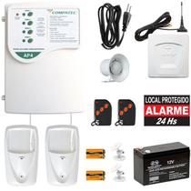 Alarme Residencial Com Fio Discadora GSM Envia SMS E Faz Ligação 2 Sensores Pet - Compatec