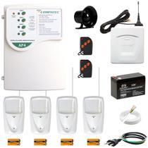 Alarme Residencial Comercial Sem Fio GSM Chip Celular 4 Sensores Infra PET Compatec Alcance 100m -
