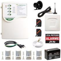 Alarme Residencial Discadora GSM DG5-S Chip Celular 4 Sensores Infravermelho Externo Compatec -