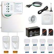Alarme Residencial Gsm Chip Sem Fio 10 Sensores Compatec +nf -