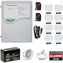 Alarme Residencial Sem Fio Com 8 Sensores Magnéticos de Abertura Porta Janela - Compatec