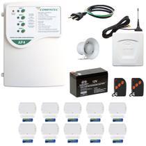 Alarme Residencial Sem Fio Gsm Chip 10 Sensores Porta Janela - Compatec