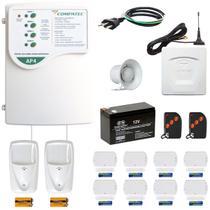 Alarme Residencial Sem Fio GSM Chip Celular 10 Sensores Controle e Aviso por Ligação e SMS Compatec -