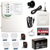 Alarme Residencial Sem Fio Gsm Chip Celular 4 Sensores Porta - Compatec