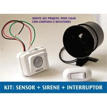 Alarme Sirene Com Sensor De Movimento Interruptor Bivolt Segurança Casa - Multicraft