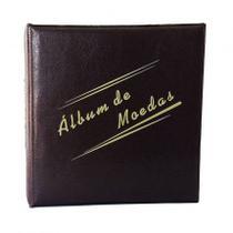 Álbum Acolchoado 2 argolas  pequeno Marrom  para 200 Moedas - Loja Do Colecionador